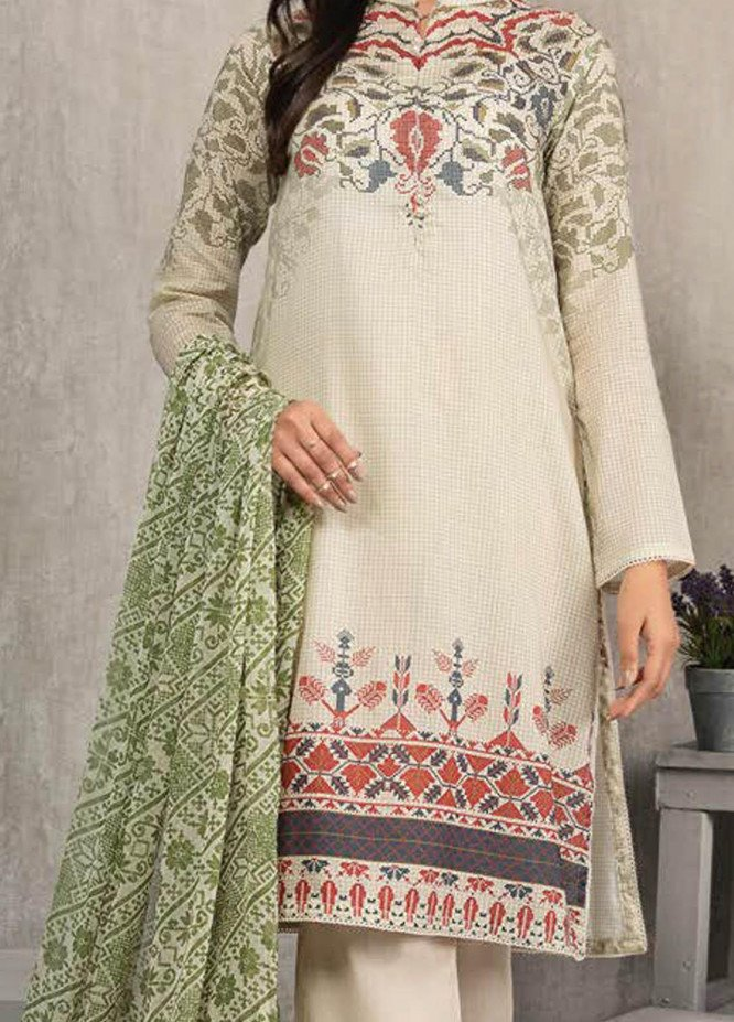 LimeLight Printed Lawn Suits Unstitched 2 Piece LL21S U-1192 BEIGE - Summer Collection