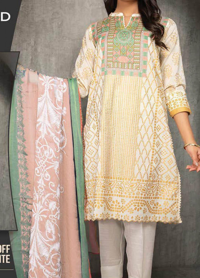 LimeLight Printed Lawn Suits Unstitched 2 Piece LL21S U-1194 OFF WHITE - Summer Collection