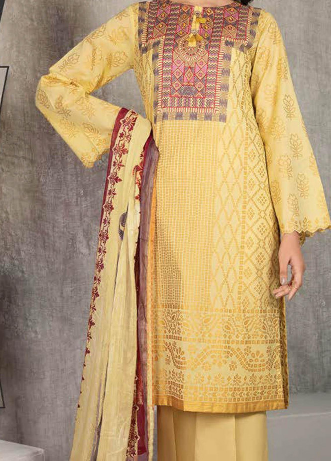 LimeLight Printed Lawn Suits Unstitched 2 Piece LL21S U-1194 YELLOW - Summer Collection
