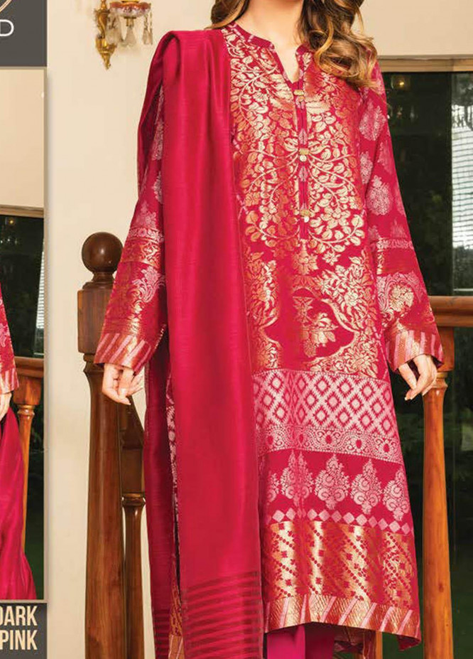 LimeLight Printed Jacquard Suits Unstitched 2 Piece LL21S U-1199 DARK PINK - Summer Collection