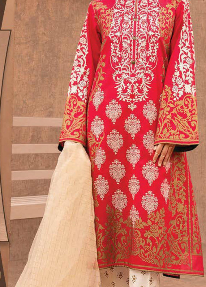 LimeLight Printed Lawn Suits Unstitched 3 Piece LL21S U-1206 RED - Summer Collection