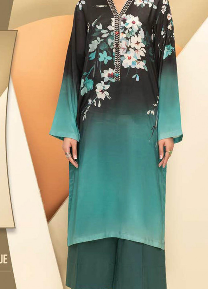 LimeLight Printed Silk Unstitched Kurties LL21S U-1208 BLUE - Summer Collection