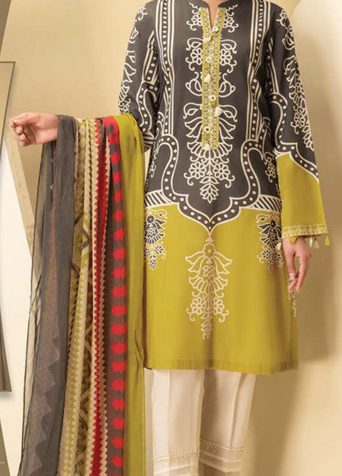 LimeLight Printed Lawn Suits Unstitched 2 Piece LL21S U-1239 GREY - Summer Collection