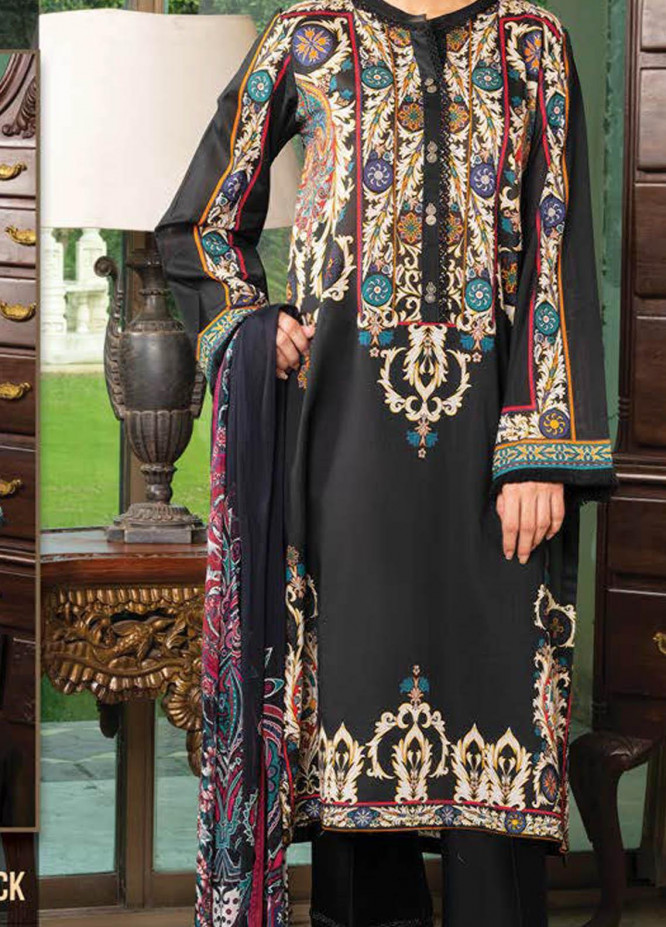 LimeLight Printed Lawn Suits Unstitched 2 Piece LL21S U-1241 BLACK - Summer Collection