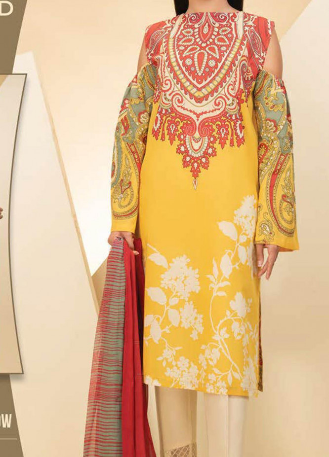 LimeLight Printed Lawn Suits Unstitched 2 Piece LL21S U-1245 YELLOW - Summer Collection