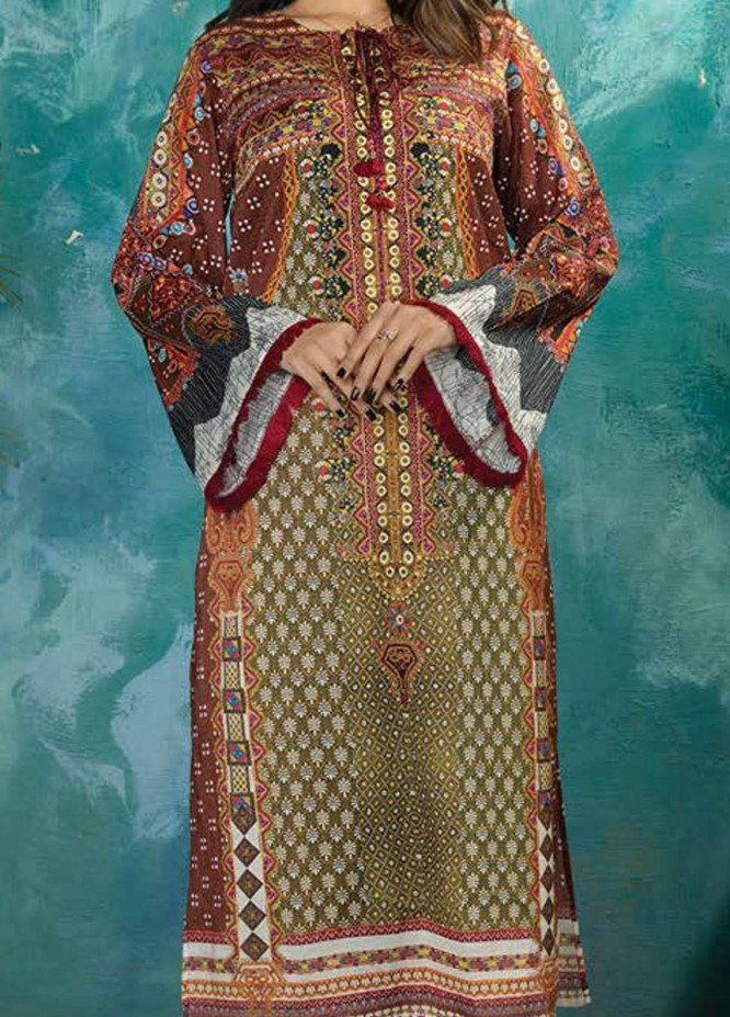 LimeLight Printed Lawn  Unstitched Kurties LL21S U-1247 OLIVE - Summer Collection