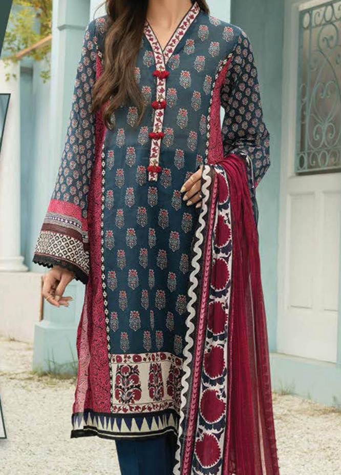 LimeLight Printed Lawn Suits Unstitched 2 Piece LL21S U-1383 BLUE - Summer Collection