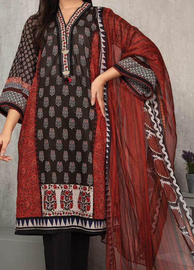 LimeLight Printed Lawn Suits Unstitched 2 Piece LL21S U-1383 BROWN - Summer Collection