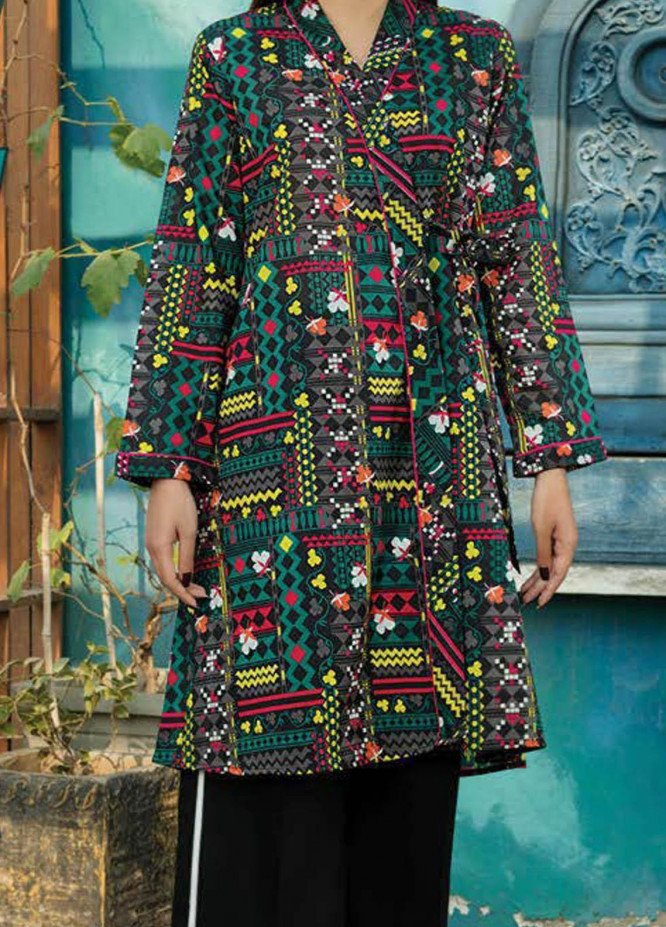 LimeLight Printed Lawn  Unstitched Kurties LL21S U-1399 BLACK - Summer Collection