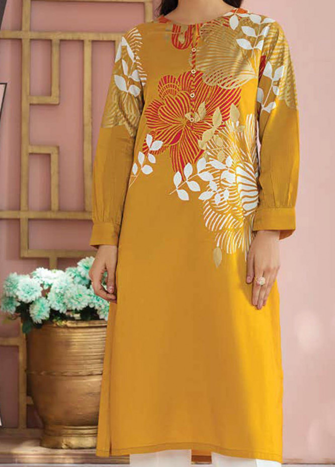LimeLight Printed Lawn  Unstitched Kurties LL21S U-1412 YELLOW - Summer Collection
