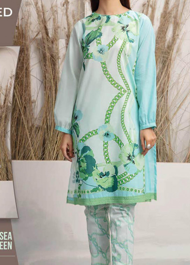 LimeLight Printed Lawn Suits Unstitched 2 Piece LL21S U-1429 SEA GREEN - Summer Collection
