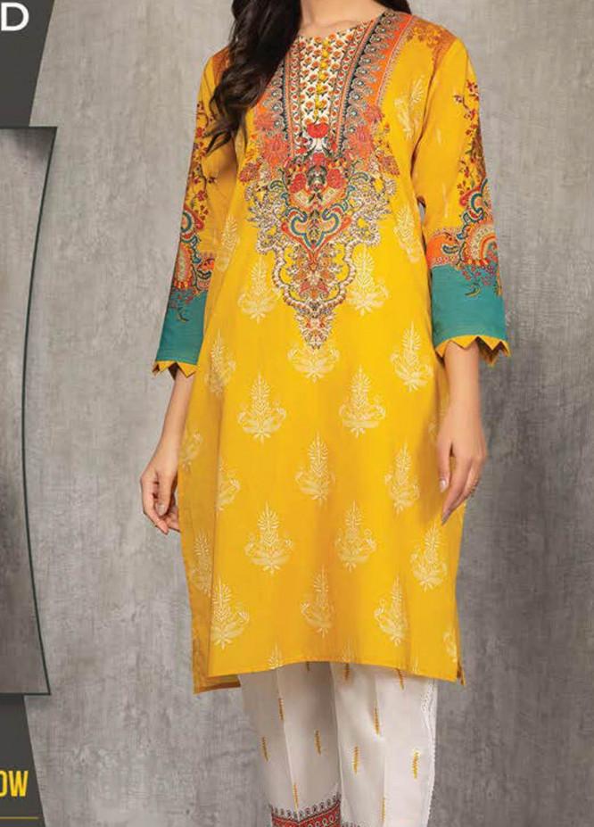 LimeLight Printed Lawn Suits Unstitched 2 Piece LL21S U-1440 YELLOW - Summer Collection