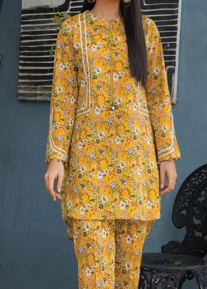 LimeLight Printed Lawn  Unstitched Kurties LL21S U-1488 YELLOW - Summer Collection