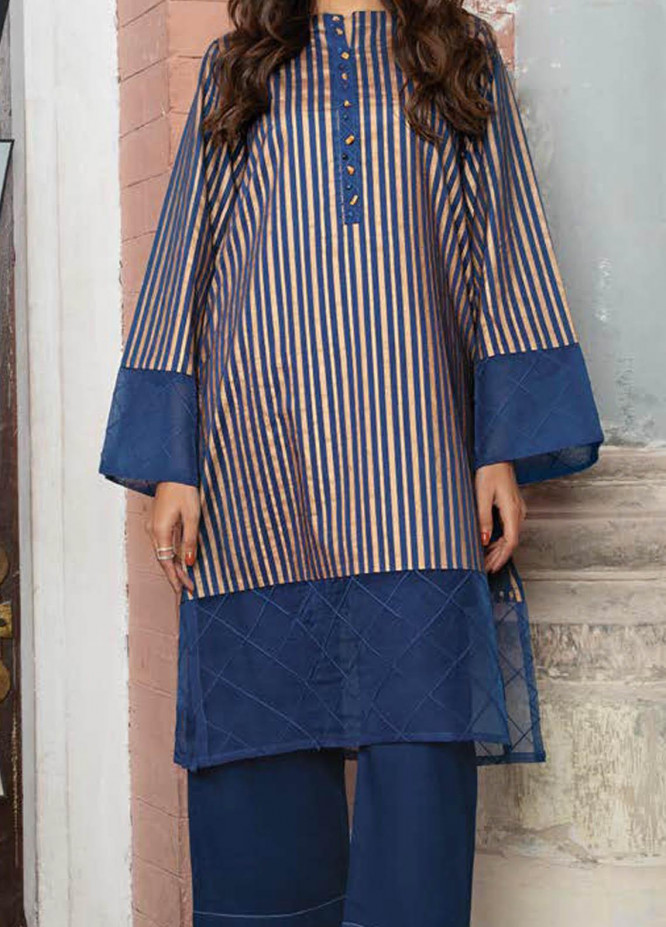 LimeLight Printed Lawn  Unstitched Kurties LL21S U-1517 BLUE - Summer Collection