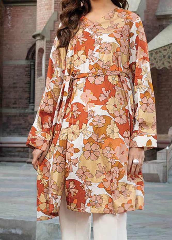 LimeLight Printed Lawn  Unstitched Kurties LL21S U-1518 OFF WHITE - Summer Collection