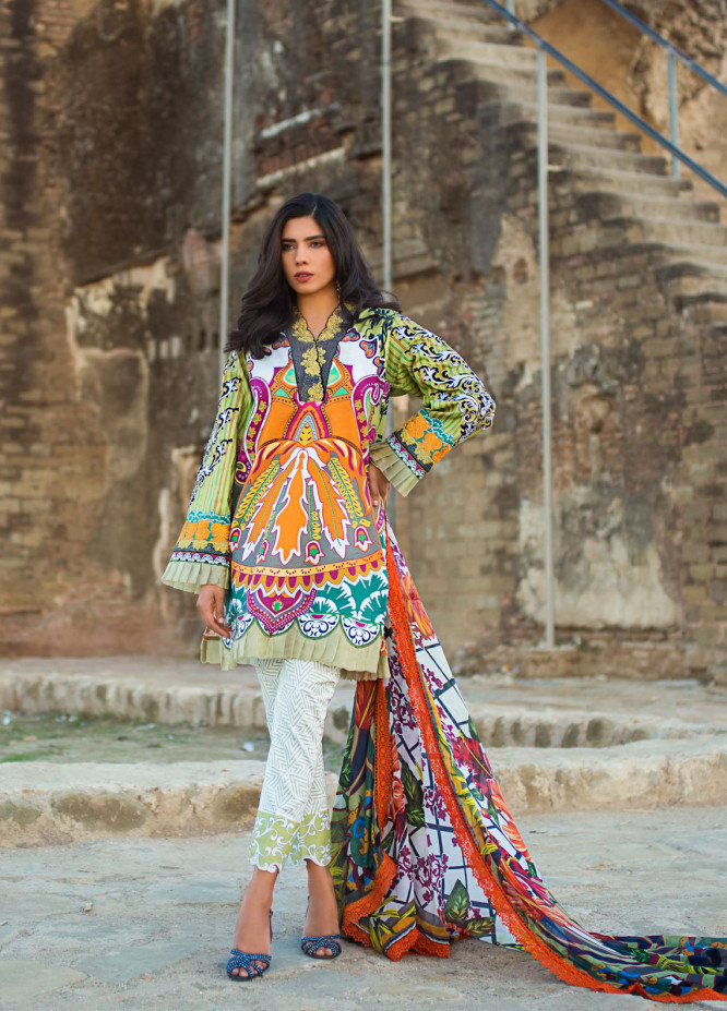 Maheen Karim by ZS Textile Embroidered Lawn Unstitched 3 Piece Suit MK19L 07 PISTACHIO ORIENT - Spring / Summer Collection