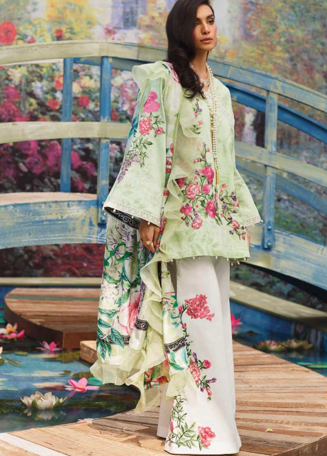 Mahgul Embroidered Lawn Suits Unstitched 3 Piece MG21LR MLL21-03 - Luxury Collection
