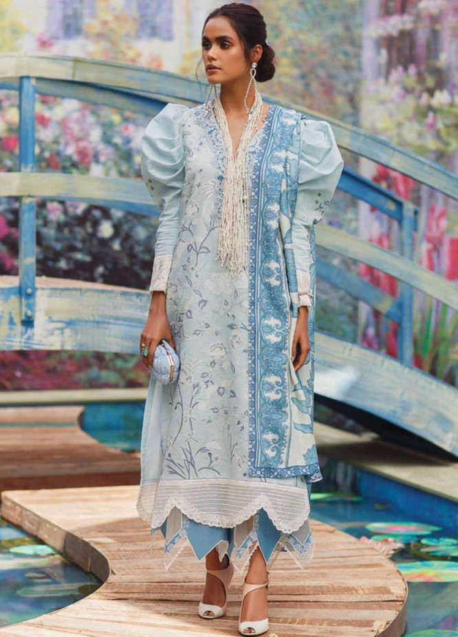 Mahgul Embroidered Lawn Suits Unstitched 3 Piece MG21LR MLL21-04 - Luxury Collection