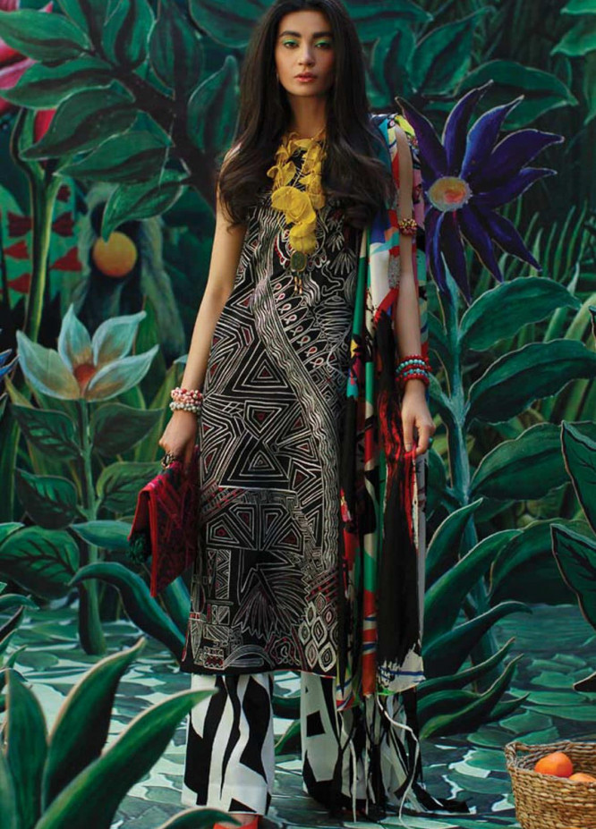 Mahgul Embroidered Lawn Suits Unstitched 3 Piece MG21LR MLL21-07 - Luxury Collection