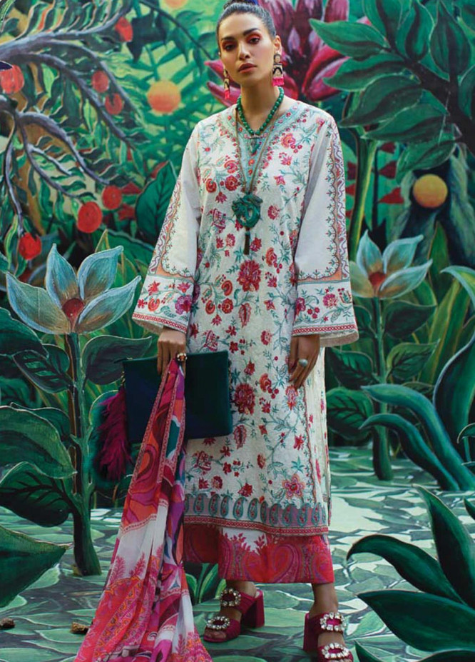 Mahgul Embroidered Lawn Suits Unstitched 3 Piece MG21LR MLL21-09 - Luxury Collection