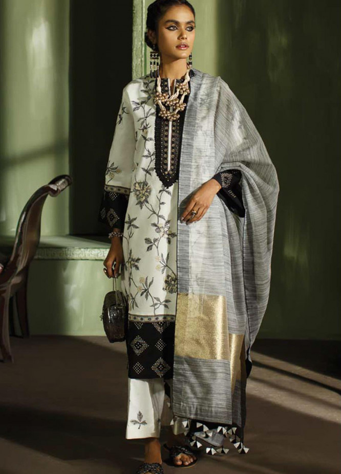Mahgul Embroidered Lawn Suits Unstitched 3 Piece MG21LR MLL21-14 - Luxury Collection