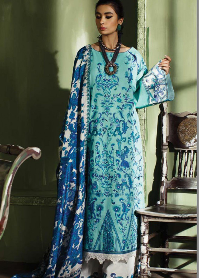 Mahgul Embroidered Lawn Suits Unstitched 3 Piece MG21LR MLL21-15 - Luxury Collection