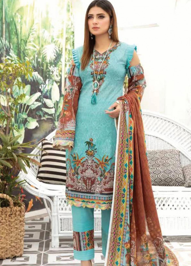 Mahjabeen by Riaz Arts Embroidered Lawn Unstitched 3 Piece Suit RA21M 01 - Summer Collection