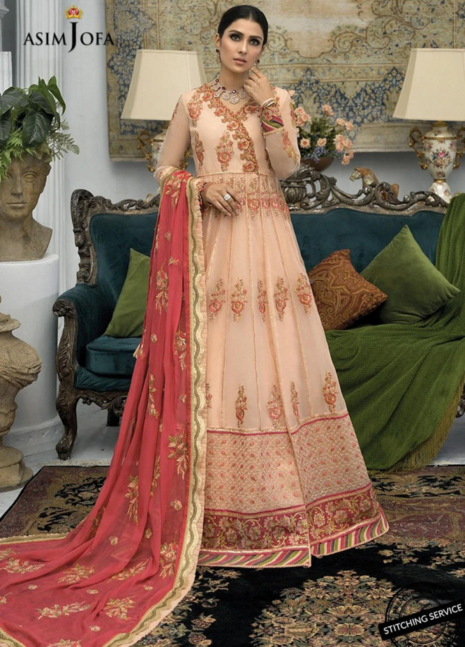 Mahsa By Asim Jofa Embroidered Organza Suits Unstitched 3 Piece AJ21M 05 - Festive Collection