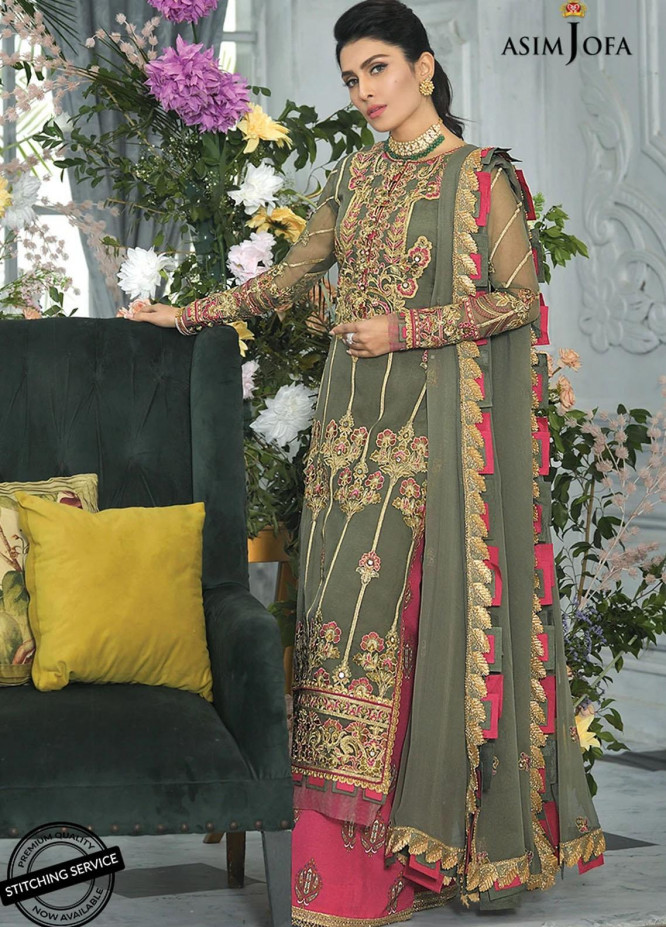 Mahsa By Asim Jofa Embroidered Organza Suits Unstitched 3 Piece AJ21M 06 - Festive Collection