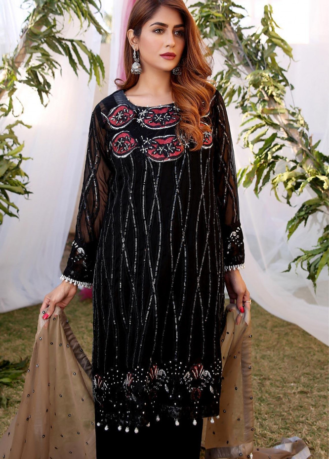 Maliha Kamal Embroidered Chiffon Unstitched 3 Piece Suit MK20C 176 JASPER - Luxury Collection