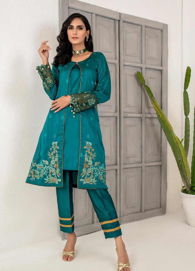 Malka by Fashion Porters Embroidered Khaadi Silk Suits Unstitched 3 Piece FP21MK WUS21-MK1 - Winter Collection