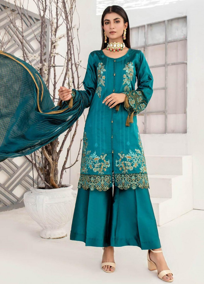 Malka by Fashion Porters Embroidered Khaadi Silk Suits Unstitched 3 Piece FP21MK WUS21-MK1V - Winter Collection