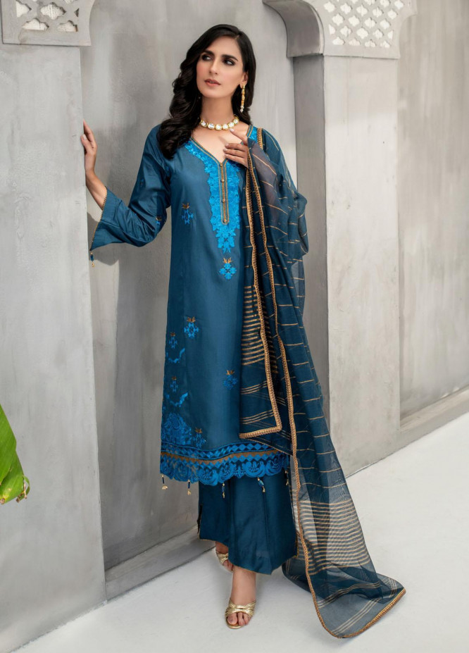 Malka by Fashion Porters Embroidered Khaadi Silk Suits Unstitched 3 Piece FP21MK WUS21-MK2 - Winter Collection