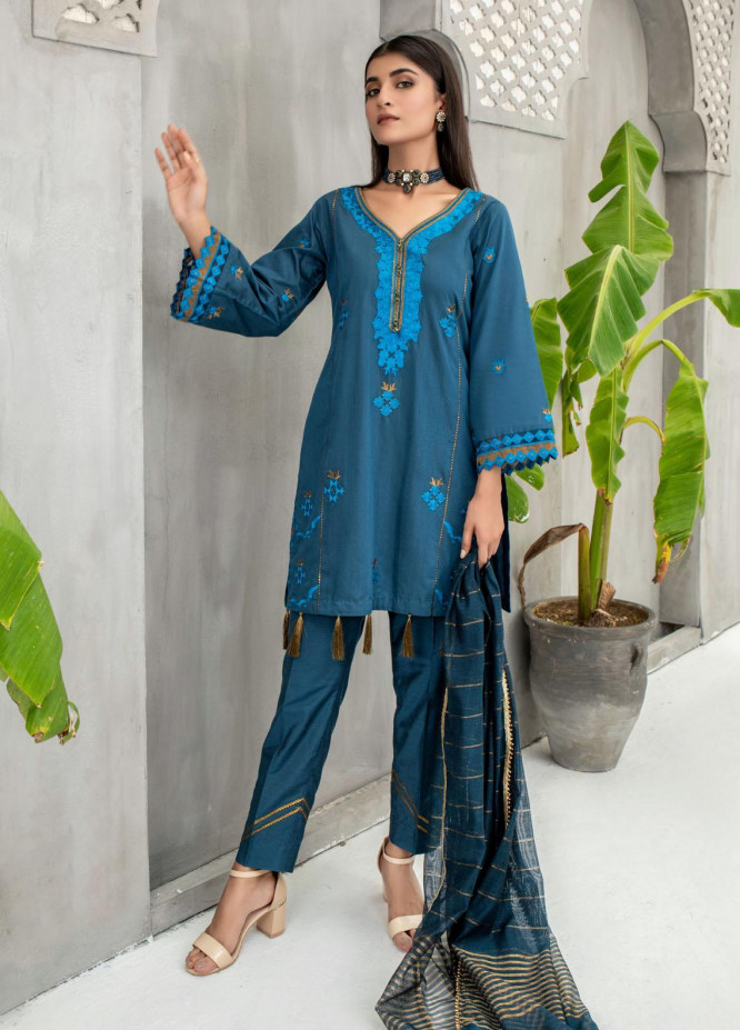 Malka by Fashion Porters Embroidered Cotton Silk Suits Unstitched 3 Piece FP21MK WUS21-MK2V - Winter Collection