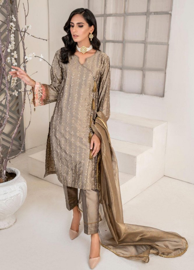Malka by Fashion Porters Embroidered Khaadi Silk Suits Unstitched 3 Piece FP21MK WUS21-MK3 - Winter Collection