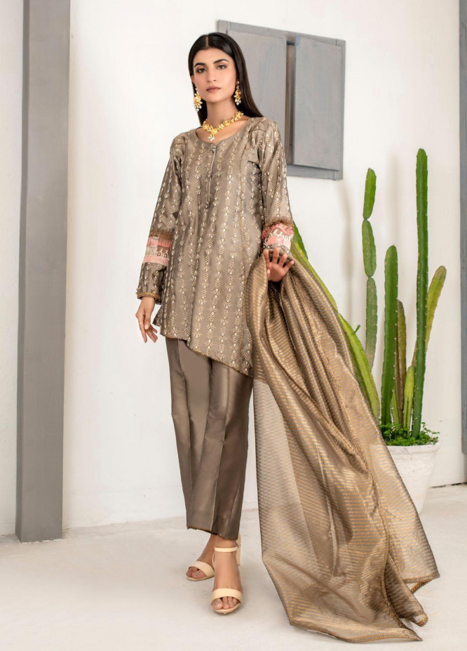 Malka by Fashion Porters Embroidered Khaadi Silk Suits Unstitched 3 Piece FP21MK WUS21-MK3V - Winter Collection