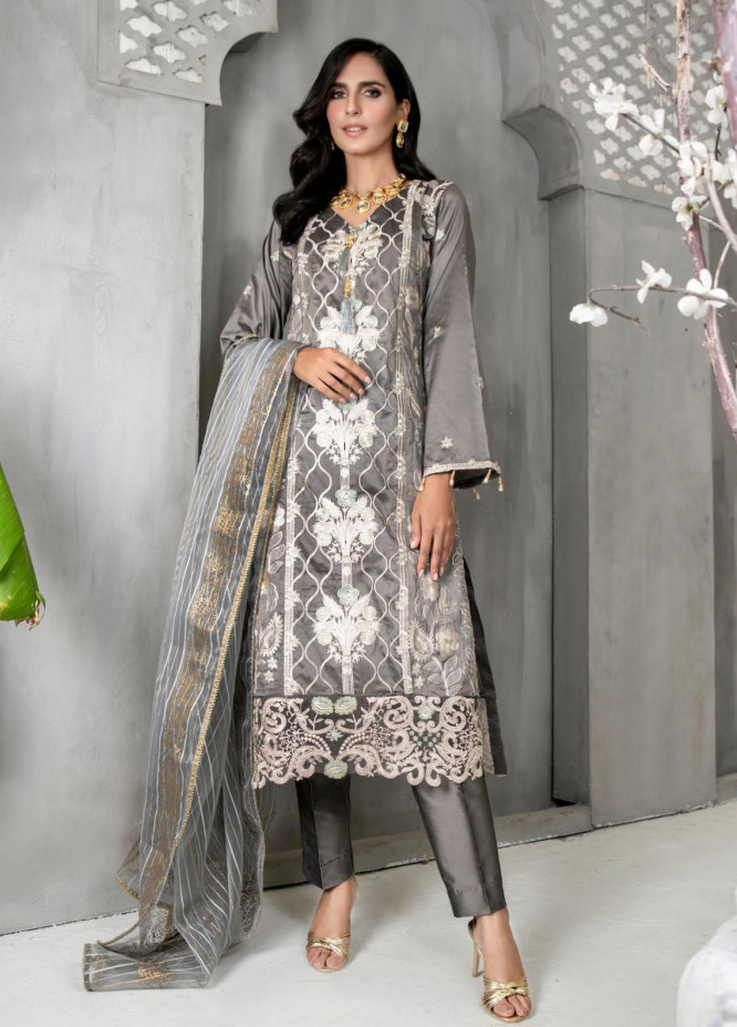 Malka by Fashion Porters Embroidered Khaadi Silk Suits Unstitched 3 Piece FP21MK WUS21-MK4 - Winter Collection