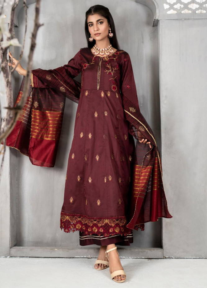 Malka by Fashion Porters Embroidered Khaadi Silk Suits Unstitched 3 Piece FP21MK WUS21-MK5 - Winter Collection