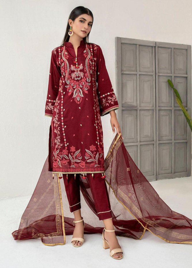 Malka by Fashion Porters Embroidered Cotton Silk Suits Unstitched 3 Piece FP21MK WUS21-MK7 - Winter Collection
