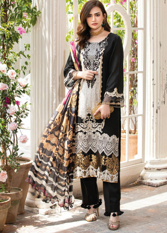 Manara Embroidered Lawn Suits Unstitched 3 Piece MNA21K 06 TINSEL TONIGHT - Luxury Collection