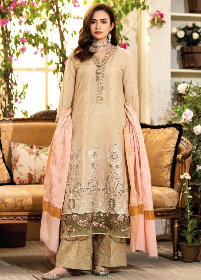 Manara Embroidered Lawn Suits Unstitched 3 Piece MNA21K 08 GALA AFFAIR - Luxury Collection