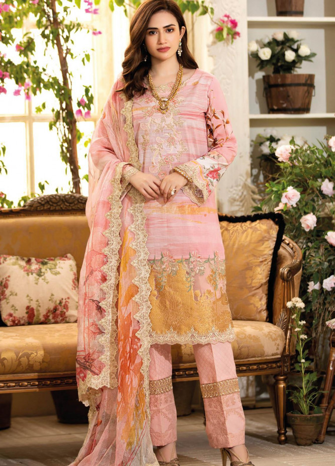 Manara Embroidered Lawn Suits Unstitched 3 Piece MNA21K 09 SUMMER TIME SPLENDOUR - Luxury Collection