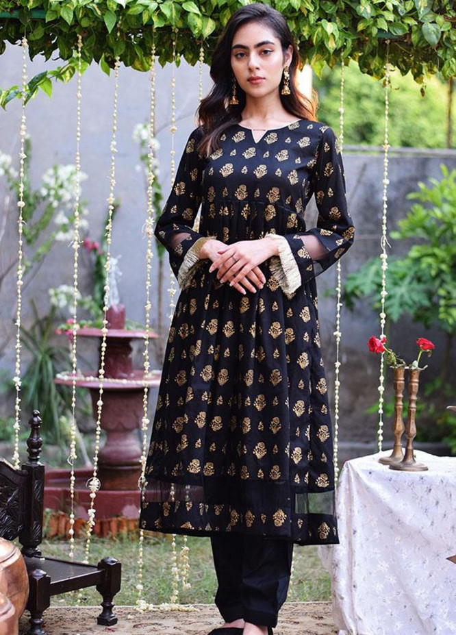 Mannat Clothing Casual Pret  Lawn Frock TOUCH OF BLACK