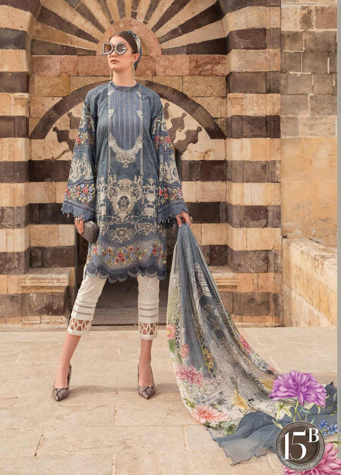 Maria B Embroidered Lawn Suits Unstitched 3 Piece MB21L 15-B - Summer Collection