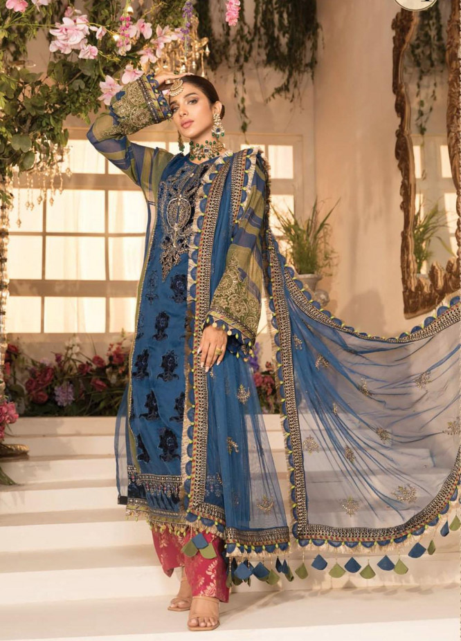 Mbroidered By Maria B Embroidered Organza Suits Unstitched 3 Piece MB21MB 04 - Eid Collection