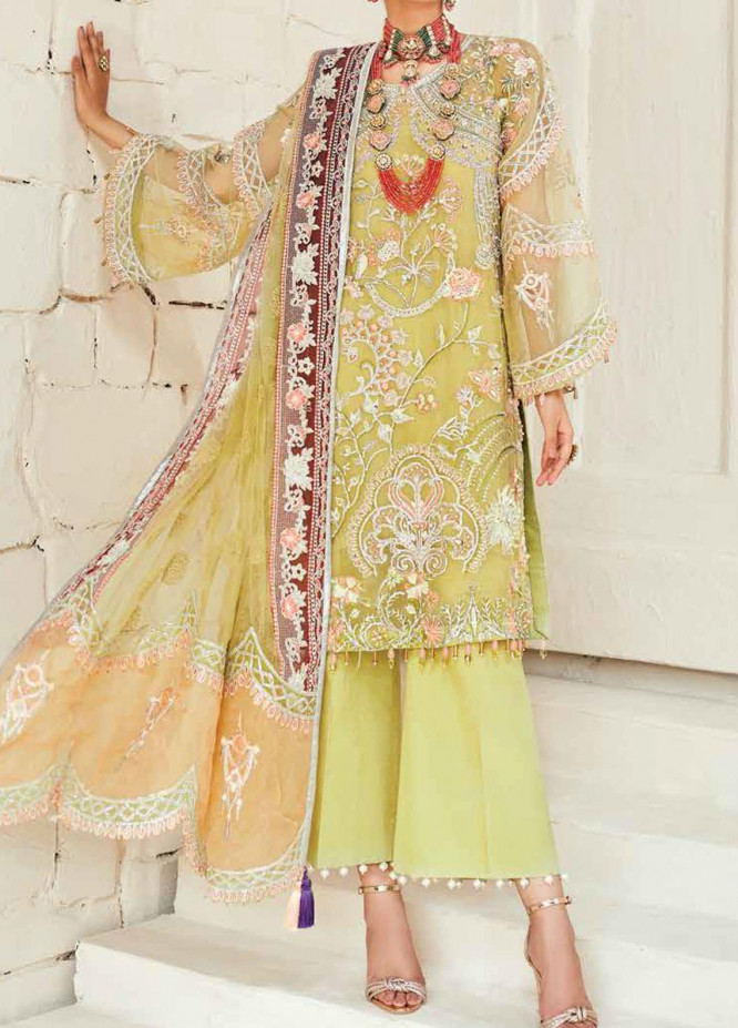 Marwa by Maryam Hussain Embroidered Organza Unstitched 3 Piece Suit MRH20M 04 Tuscany - Luxury Collection