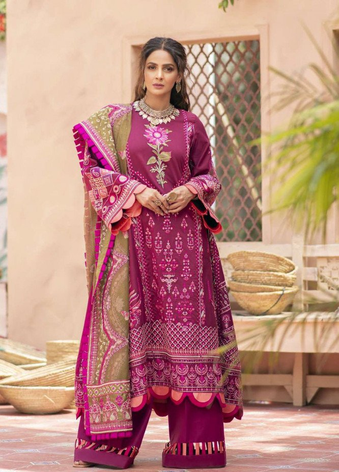 Maryam Hussain Embroidered Lawn Suits Unstitched 3 Piece MRH21LL 03-Chambeli - Festive Collection