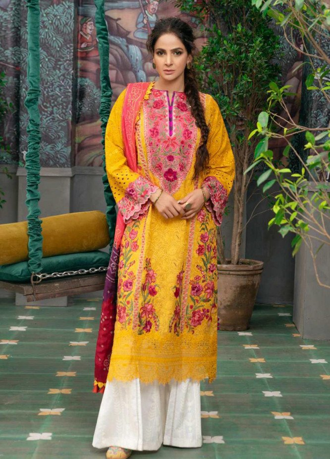 Maryam Hussain Embroidered Chikankari Suits Unstitched 3 Piece MRH21LL 10-Kesar - Festive Collection