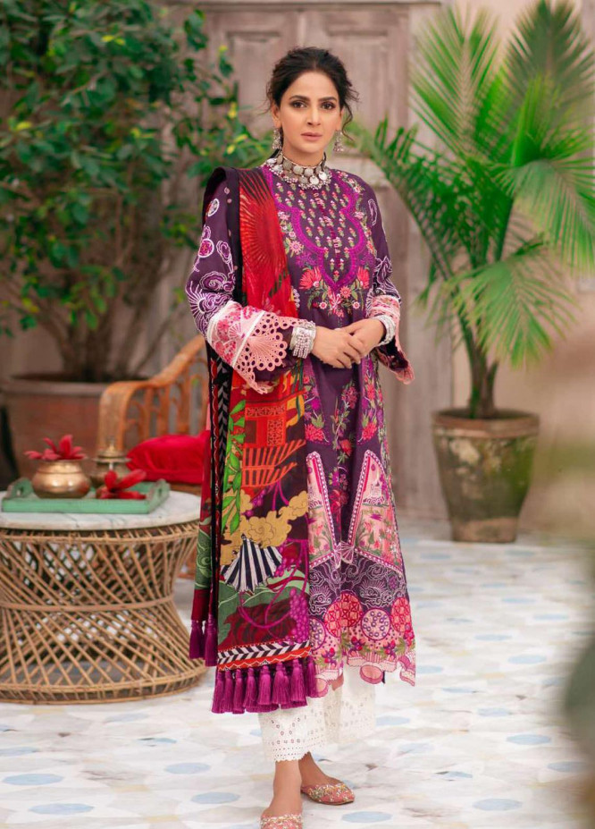 Maryam Hussain Embroidered Lawn Suits Unstitched 3 Piece MRH21LL 11-Paras - Festive Collection
