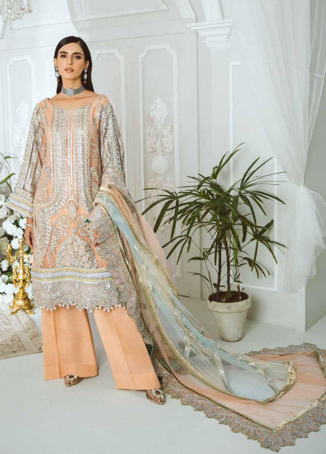 Maryum N Maria Embroidered Net Suits Unstitched 3 Piece MNM21LC MDF0007 FIRE PEARL - Luxury Collection